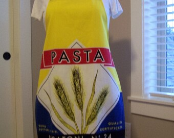 Women's full apron, Pasta chef apron, tea towel apron, cooking apron, cover up, wheat Pasta apron, Red, Yellow and blue chefs cover up