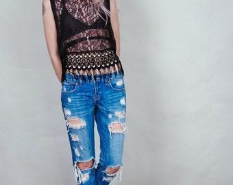 Jennifer - Storm grey muscle crop top with black lace fringe - boho rock shirt