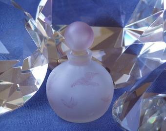 Vintage  Jenny Blair Designs Glass Round Perfume Bottle Pretty  Pink Art Glass  Perfume Bottle