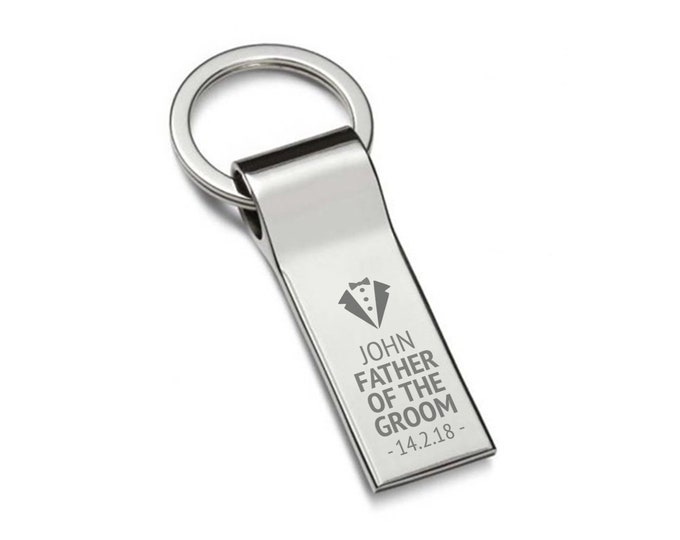 Engraved FATHER of the GROOM keyring wedding gift, personalised chromed metal keychain, tuxedo - 7537-TUX2