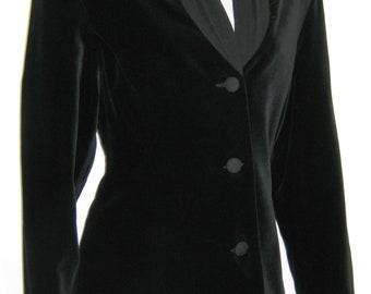 LAURA ASHLEY Vintage Tailored Black Velvet Dinner Jacket / Blazer with Silk Shawl Collar, UK 12
