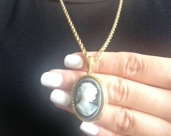 Vintage Cameo Locket Necklace, Gold Chain, Blue Plastic Pendant, Costume Jewelry