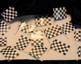 18 Small Paper Black and White Checkered Flags