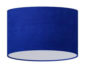 Good Blue Velvet Lamp Shade, Handmade Fabric Lampshade, 20 30 40 Cm, Large Small