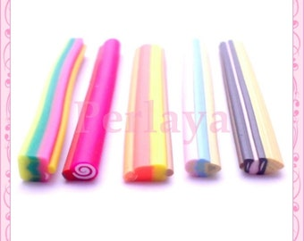 Mix of 5 fimo canes ice REF1545