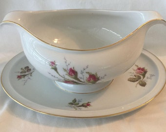 Rosenthal Winifred Petal Lane Moss Rose Gravy Boat & Universal Ballerina China Dinnerware In Moss Rose No Trim