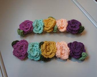 Crochet 5-Flower or Rosette Headband, Flower Crown, Baby Headband, Flower Headband, Ready-to-ship