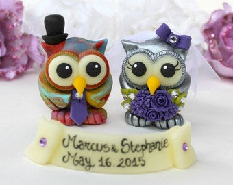 Custom wedding cake topper, owl cake topper, bride and groom love bird cake topper, tie dye groom and silver bride, hippy wedding