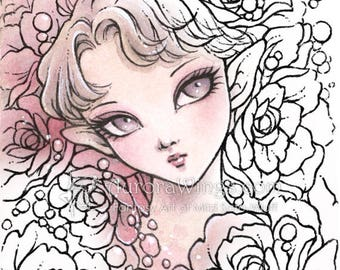 Digital Stamp - Rose Fairy - Instant Download - Big Eye Elf with Roses - Fantasy Line Art for Cards & Crafts by Mitzi Sato-Wiuff