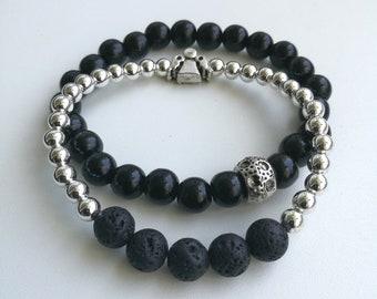 Black and Silver Bracelet Set..Black lava bracelet / Black boho bracelet / Black bracelet set / Black silver boho bracelet / Angel bracelet
