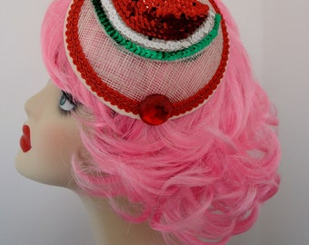 Pillbox Hat Fascinator Bibi Pastèque Watermelon Sequins