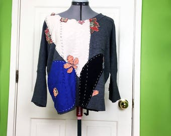 Eclectic Sweater Artsy Shirt Upcycled Top Embellished Sweater Refashioned Gray Top Altered Sweater Wearable Art Patchwork Sweater Boro Shirt