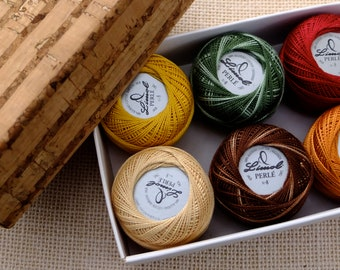 Autumn colors, Pearl cotton balls in a cork box, embroidery thread size 8, 6 embroidery floss balls Fall colors, variegated colors