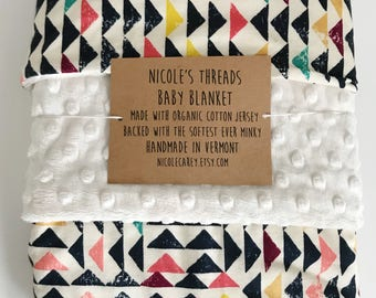 Colorful Geometric Pattern Organic Cotton Baby Blanket - Jersey Fabric Lined With Minky -