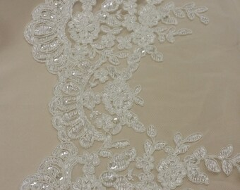 Beaded ivory lace trimming, Sequin lace trim, Pearl lace, French lace trim Chantilly lace, Bridal lace, Wedding lace White lace IT53019033_1