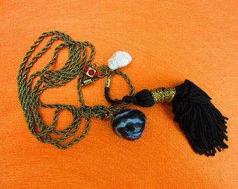 Necklace, pendant, chain, Sardonyx, magnesite, Stone, Boho, Hippi, gold, cord, jewelry, gift, tassel, black,