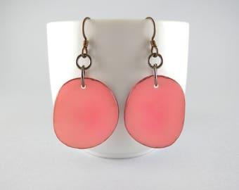 Bubblegum Pink Tagua Nut Eco Friendly Yoga Accessories Earrings with Free USA Shipping #ecofriendly