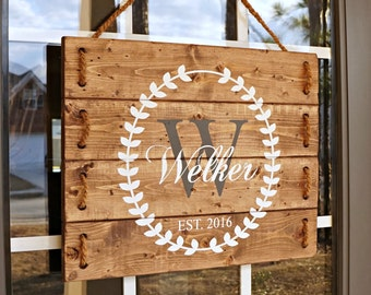 Established Wood Sign- Last Name Wood Sign- Engagement Gifts for Couple- Unique Engagement Gifts- Wooden Name Sign- Personalized Door Sign