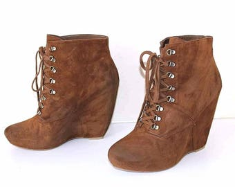 Women's Vintage BOUTIQUE 9 Platform Wedge Brown 100% Real Leather - Suede Ankle Boots Size US10M UK8 EU42