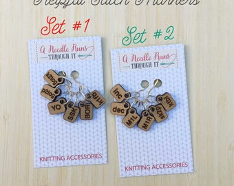 Helpful Stitch Markers, unique knitting stitch markers set, reminder set of stitch markers, Helpful reminder stitch markers