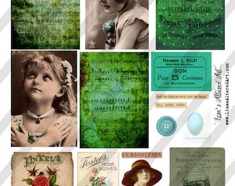 Digital Collage Sheet Vintage Green Ephemera Images (Sheet no. O114) Instant Download