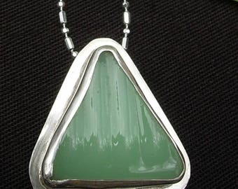 Fire King Jane Ray Jadeite Pendant Set in 925 Sterling Silver