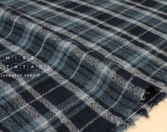 Japanese Fabric Wool Gauze - plaid - blue - 50cm