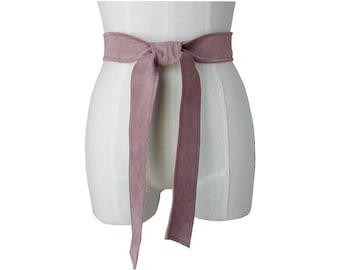 Suede Belt, Wide Classic belt, Mauve Suede Sash Belt, Replacement Coat belt, Leather Tie Belt, Soft Leather belt, Basic Belt Collection S M