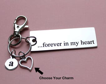 Personalized Love Key Chain Forever In My Heart Stainless Steel Customized with Your Charm & Initial - K98