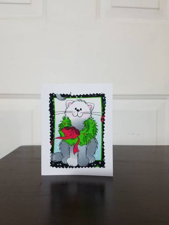 Sewn Christmas Cards/Fabric Scrap Christmas Cards/Handmade Holiday Cards/Handmade Greeting Cards/Blank Christmas Card, Cat Christmas Card