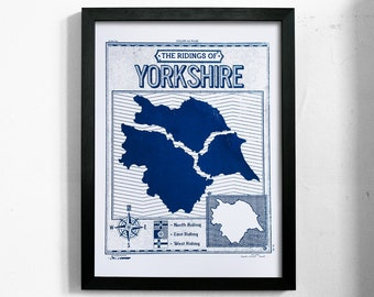 Ridings of Yorkshire | A3 Handmade Screenprint Poster