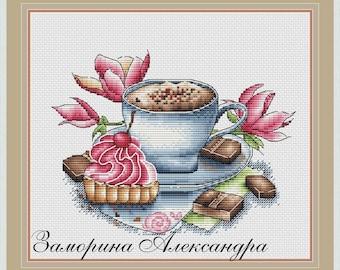 Coffee Cross Stitch Pattern PDF Instant Download Cup Cross Stitch Cappuccino Cross Stitch Chocolate Cross Stitch Pastry Cross Stitch Flower