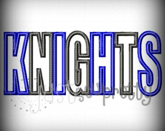 Knights Word Embroidery Applique Design