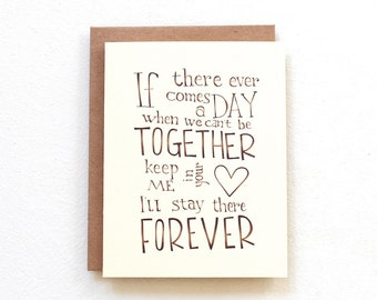 If there ever comes a day - Winnie the Pooh quote card, cute moving card romantic anniversary friendship card, wedding day card for parents