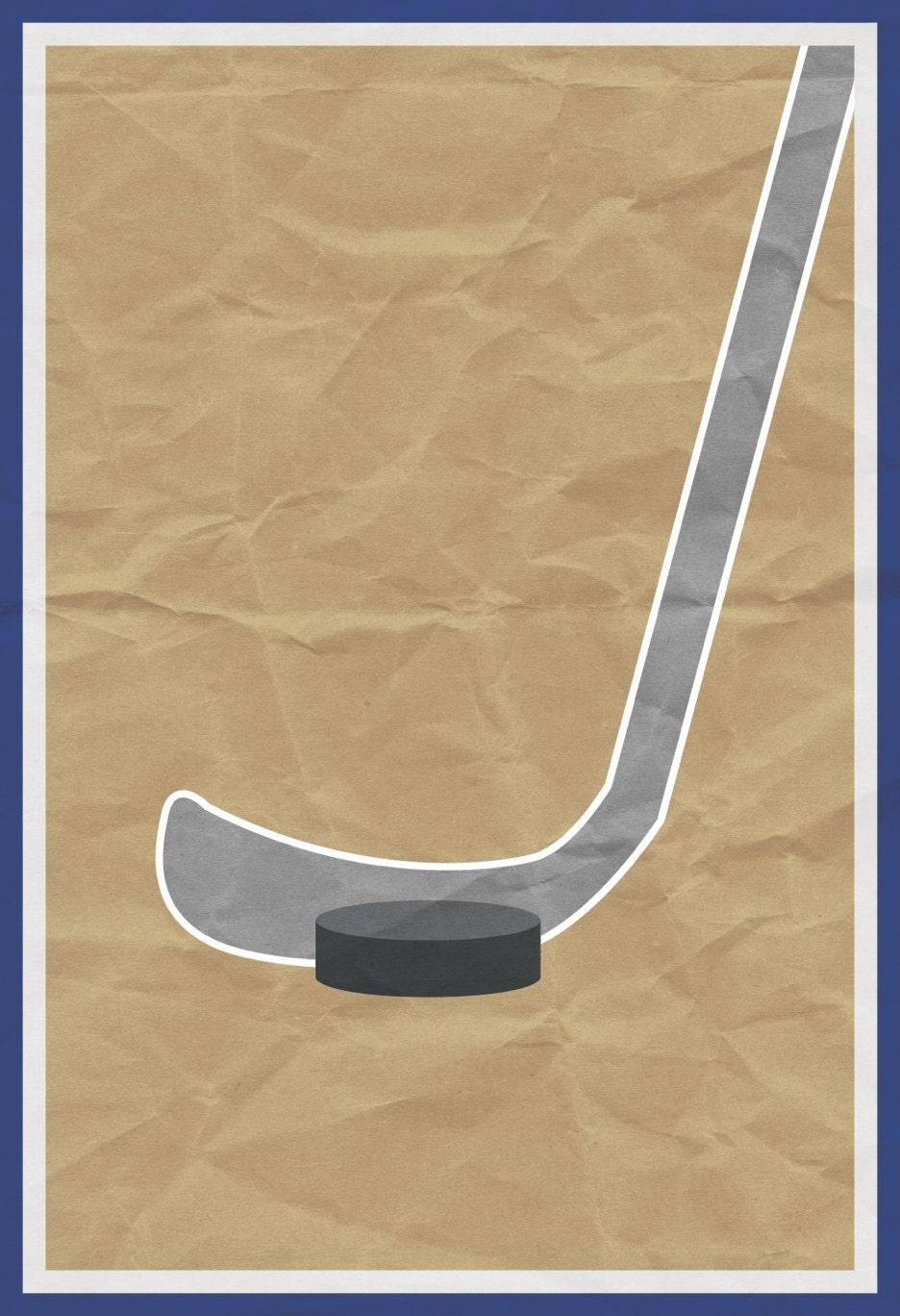 Hockey Print Kid Brown Sports Poster Little Boy Decoration
