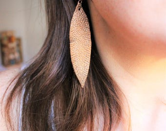 Small Bronze Leather Feather Earrings, leather feathers, bronze earrings