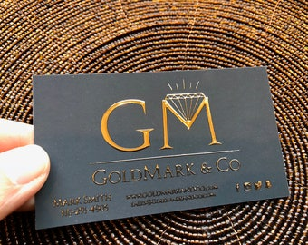 100 Business Cards - Raised gold, silver or holographic metallic foil embossed - 16 PT suede velvet laminated stock  - color custom printed