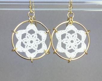 Peony doily earrings, white silk thread, 14K gold-filled