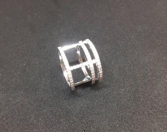 Large rhinestone 925 sterling silver ring