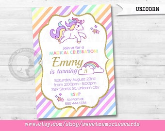 Unicorn Invitation, Unicorn Birthday Invitation, Magical Birthday Invitation, Rainbow Birthday Invitation, Rainbow Magical Unicorn Invite,