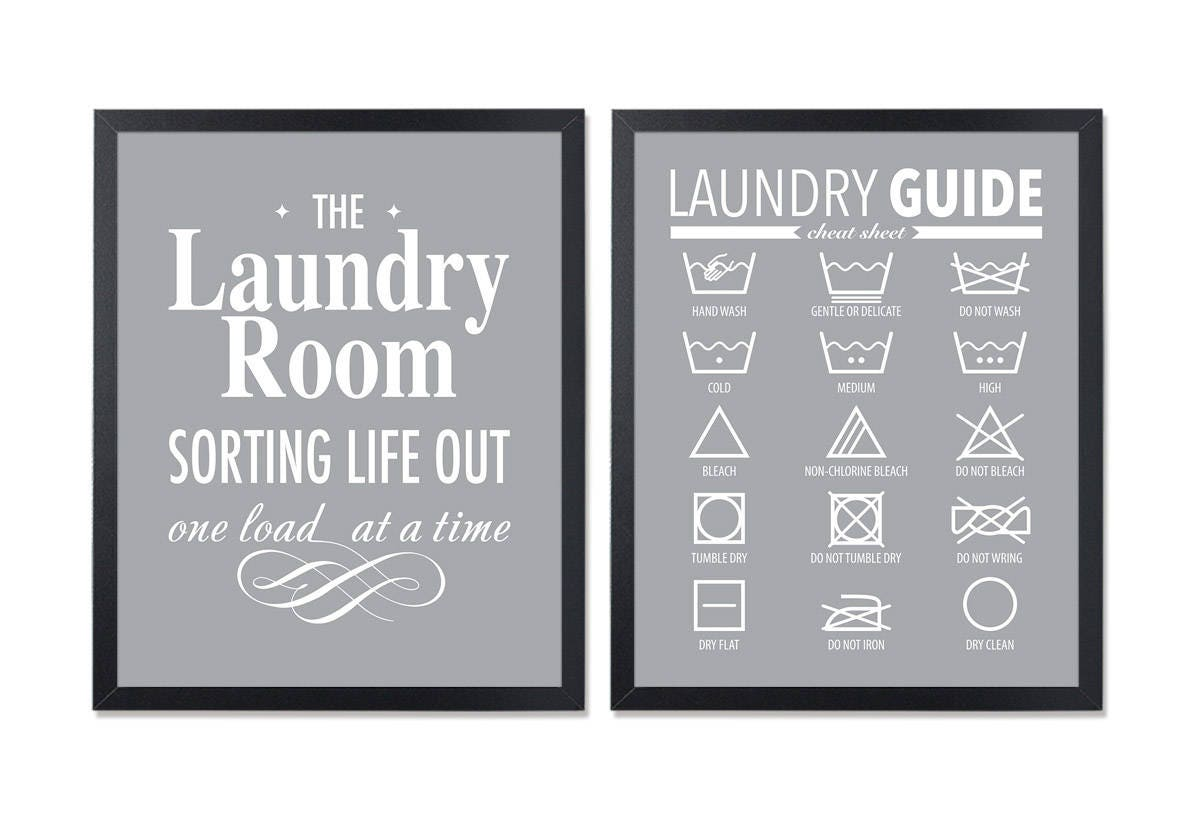 Laundry symbols printable gray laundry sign laundry guide room zoom buycottarizona Gallery