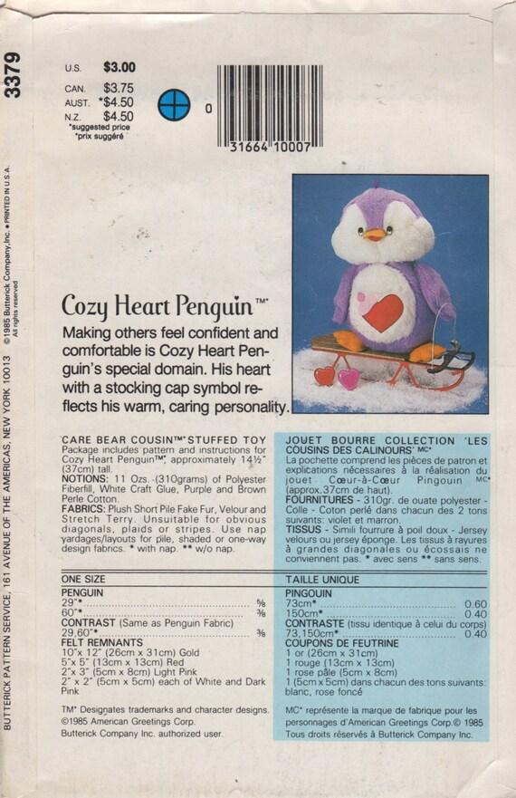 Butt 3379 1980s gemütlich Herz Pinguin Care Bear Cousin Muster