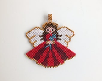 Red Angel Necklace, Charm Guardian Angel Necklace, Gift, Woman, Jewelry