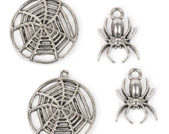 Small Spider and Web Charms (STEAM296)