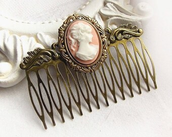 Vintage cameo comb - MORE CHOICES - gothic vintage renaissance hair comb baroque cameo hair comb cameo ornate antique gold comb accessories