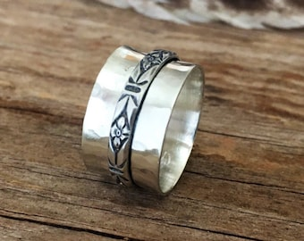 Sterling Silver Spinner Ring - Patterned Silver - Oxidized - Antiqued - Contrast - Fiddle Ring - Fidget Ring - Worry Ring