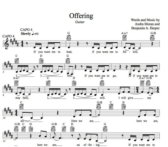 Offering By Andra Moran Guitar And Piano Lead Sheet Bundle