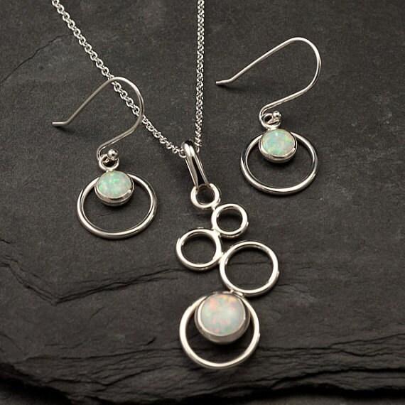 Opal Necklace, Opal Earrings- Opal Jewelry Set- Sterling Silver Jewelry Set- October birthstone - 2 piece set