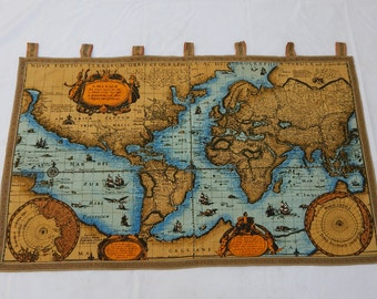 Vintage world map tapestry wall hanging etsy vintage french beautiful world map english design print tapestry 028 gumiabroncs Image collections