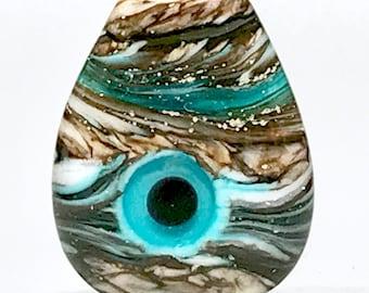 Aqua Blue Eye - Handmade Italian Lampwork Glass Focal Evil Eye Bead